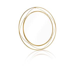 מראה עגולה עיצוב חישוקים זהב