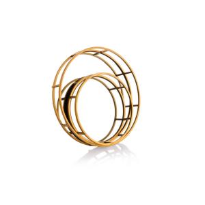 מגש מראה עגול בשילוב מתכת זהב