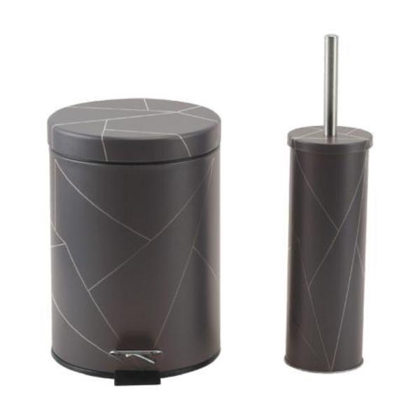 סט פח אשפה+מברשת עיצוב גיאומטרי-אפור כהה