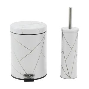 סט פח אשפה+מברשת עיצוב גיאוטמרי-לבן