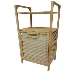 סל כביסה מעוצב עשוי מעץ במבו-2 קומות