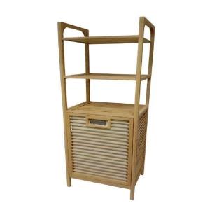 סל כביסה מעוצב עשוי מעץ במבו-3 קומות