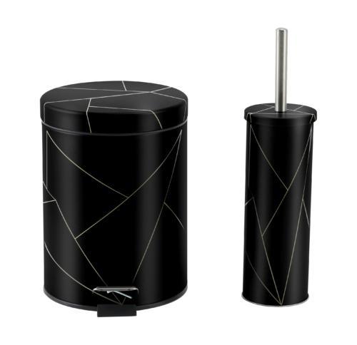 סט פח אשפה+מברשת עיצוב גיאומטרי-שחור