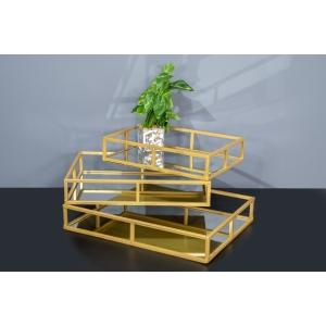 מגש נוי מרובע בשילוב מראה-זהב