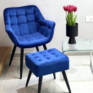 כורסאת קטיפה+הדום כחול רויאל