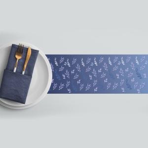 ראנר מגן חום לשולחן דגם-פרחים כחולים